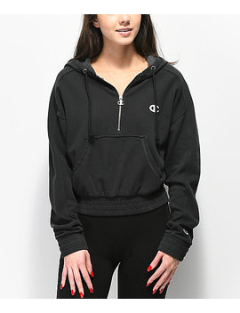 Champion Vintage Dyed Fleece Half Zip Black Hoodie by Champion