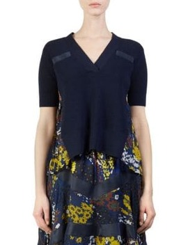 Wool Knit Floral Pullover Top by Sacai