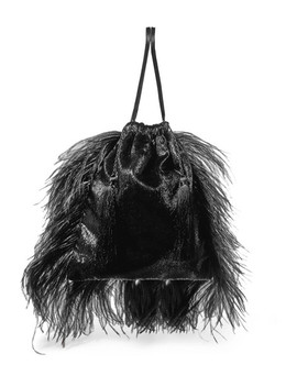 Feather Trimmed Lamé And Velvet Pouch by Attico