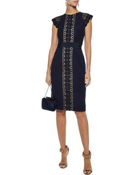Guipure Lace Paneled Stretch Knit Dress by Catherine Deane