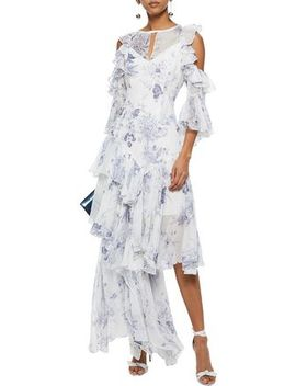Ceria Asymmetric Ruffled Floral Print Silk Georgette Gown by Cinq À Sept