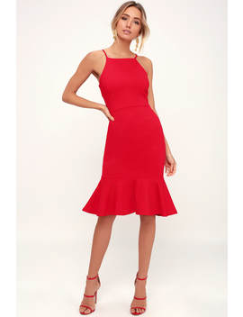 This Could Be Love Red Bodycon Midi Dress by Lulus