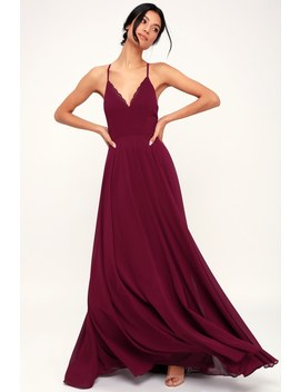 Remember Tonight Burgundy Lace Up Maxi Dress by Lulus