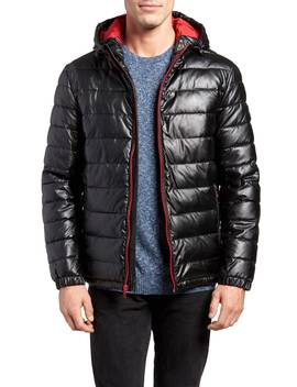 Quilted Faux Leather Hooded Puffer Jacket by Cole Haan