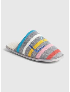 Logo Crazy Stripe Slippers by Gap