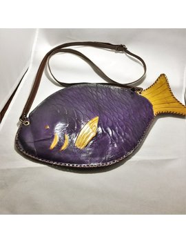 Vintage Purple And Yellow Leather Fish Shoulder Purse From Ecuador. It Looks Like A 1970s Hippie Handbag. It Measures About 15 By 8 Inches. by Etsy