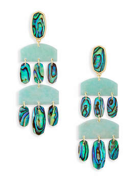 Emmet Gold Statement Earrings In Abalone Shell by Kendra Scott