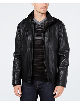 Men's Faux Leather Jacket With Faux Fur Lining by Calvin Klein