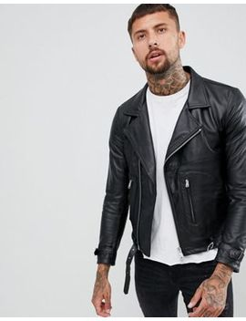 Replay Leather Biker Jacket Zip Detail In Black by Replay