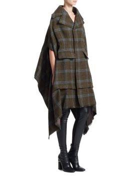 Tweed Check Elongated Wool Coat by Junya Watanabe