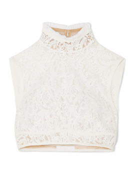 Cropped Silk Trimmed Cotton Blend Lace Top by Chloé