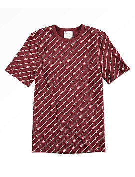 Champion Heritage All Over Script Maroon T Shirt by Champion