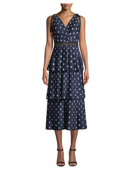 Tiered Star Print Crepe De Chine Midi Dress by Self Portrait
