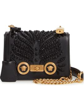 Small Icon Crystal Embellished Leather Crossbody Bag by Versace