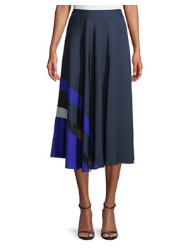 Combo Pleated Stretch Silk Skirt by Milly