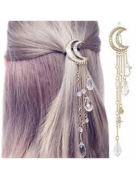 Qtmy Silver Moon Rhinestone Tassel With Crystal Charms Hair Clip Pin Hair Chain Jewelry Hair Accessories (Gold Moon Tassel) by Qtmy