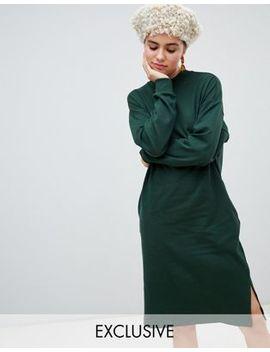 Monki Jersey Midi Dress In Dark Green by Monki