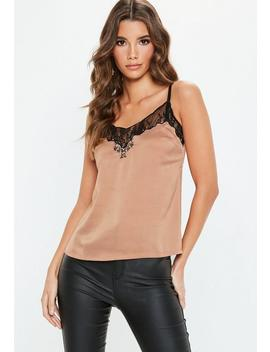 Nude Lace Trim Slip Top by Missguided