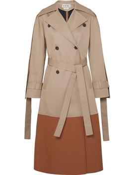 Leather Paneled Cotton Gabardine Trench Coat by Loewe