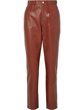 Glossed Leather Straight Leg Pants by Philosophy Di Lorenzo Serafini