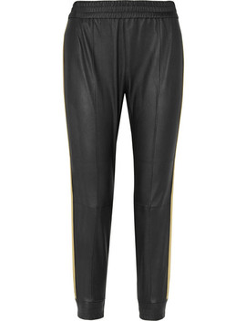 Striped Stretch Leather Track Pants by Sprwmn