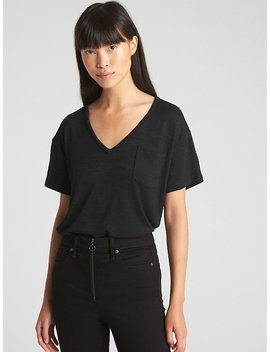 Softspun V Neck Pocket T Shirt by Gap