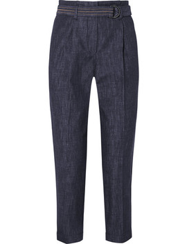 Belted Cotton Chambray Tapered Pants by Brunello Cucinelli