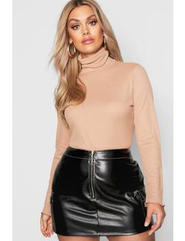 Plus Lettuce Hem Rib High Neck Top by Boohoo