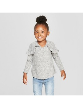 Toddler Girls' Long Sleeve Cozy Pullover Sweater   Cat & Jack™ Heather Gray by Cat & Jack
