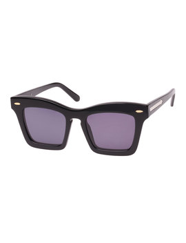 Banks Rectangle Acetate Sunglasses, Black Pattern by Karen Walker