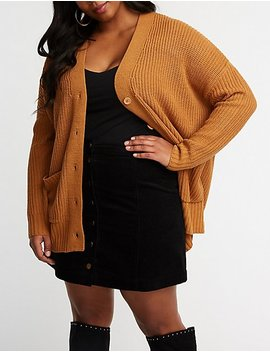 Plus Size Longline Button Up Cardigan by Charlotte Russe