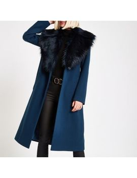 Teal Faux Fur Trim Belted Robe Coat by River Island