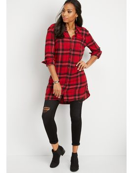 Plaid Button Down Tunic Top by Maurices