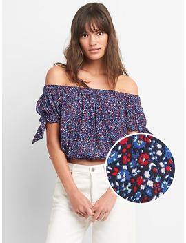Floral Tie Sleeve Off Shoulder Top by Gap