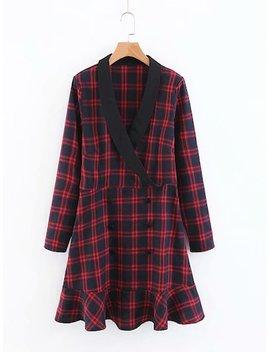 Shawl Collar Ruffle Hem Plaid Dress by Sheinside