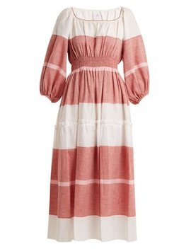Puff Sleeved Striped Linen Blend Dress by Matches Fashion