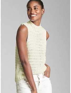 Crochet Mockneck Tank Top by Gap