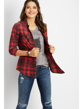 Plaid Button Down Shirt by Maurices