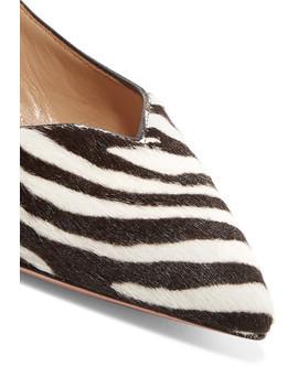 Zen Zebra Print Calf Hair Collapsible Heel Point Toe Flats by Aquazzura