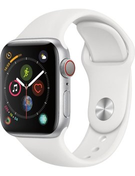 Apple Watch Series 4 (Gps + Cellular) 40mm Silver Aluminum Case With White Sport Band   Silver Aluminum (At&T) by Apple