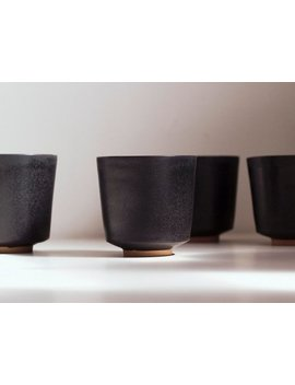 Kubo Cup Set, Charcoal Glaze | Set Of 4 Ceramic Espresso Cups, Small Coffee Cup, Espresso Coffee Set, Coffee Lover Gift, Espresso Mug Set by Etsy