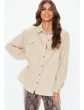 Ivory Cord Button Shirt by Missguided