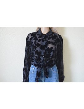 Burn Out Velvet Blouse Black Silk Sheer Shirt Burnout Leaf Print Womens Long Sleeve Vintage 90s S Small M Medium by Etsy