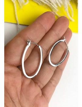 1990's Silver Oval Hoop Earrings by Boho Rose