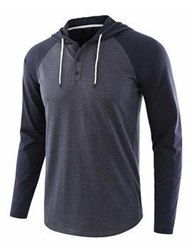 Hethcode Men's Casual Lightweight Long Sleeve Raglan Henley Jersey Hoodie Shirt by Hethcode