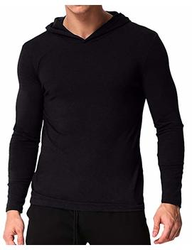 Podom Men's Long Sleeve Hoodies Lightweight Pullover Sweatshirts Tee Shirts Cotton V Neck Tops by Podom