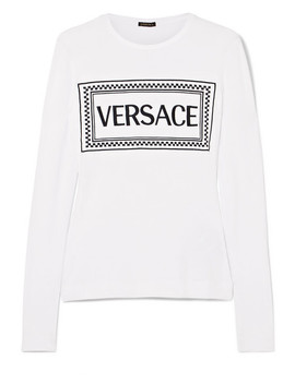 Embroidered Stretch Jersey T Shirt by Versace