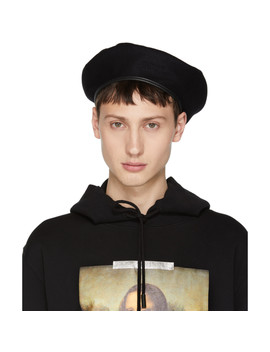 Black Logo Beret by Off White