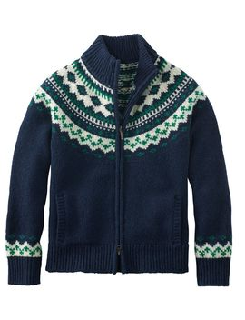 L.L.Bean Classic Ragg Wool Sweater, Fair Isle Cardigan by L.L.Bean