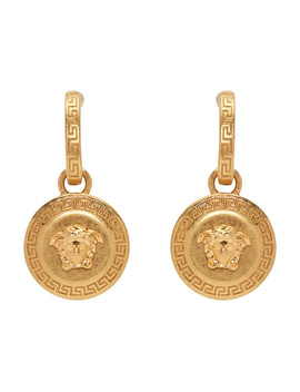 Gold Medusa Tribute Pendant Earrings by Versace